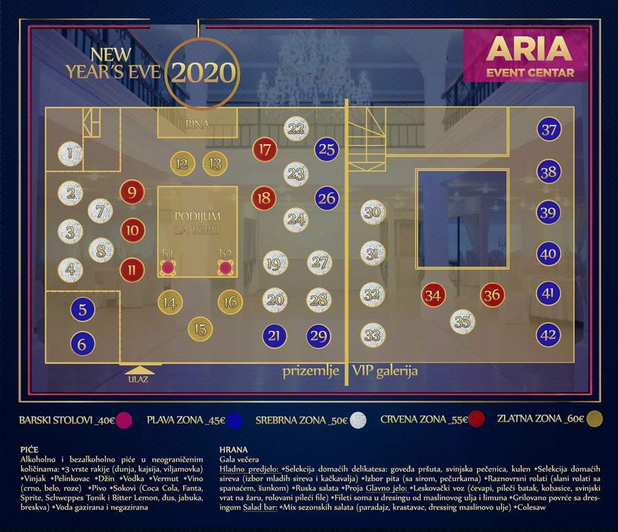 aria event centar nova godina mapa