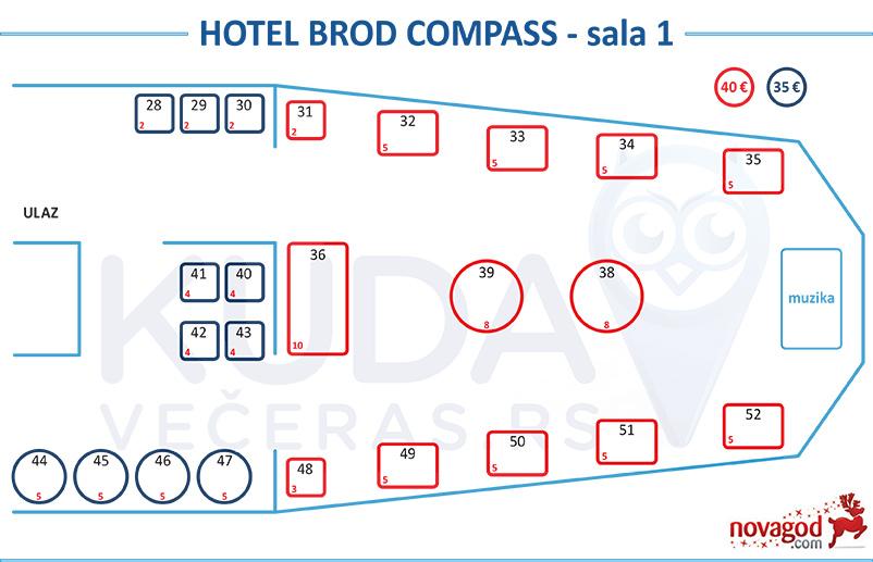 hotel kompas nova godina mapa sedenja sala 1