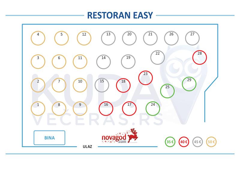 restoran easy docek nove godine mapa sedenja