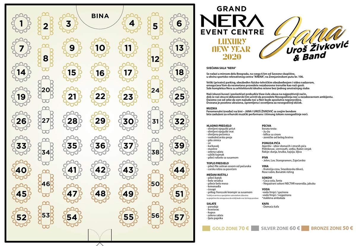 restoran nera nova godina mapa sedenja sala 2